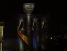 Rethe-Speicher illuminiert bei Nacht